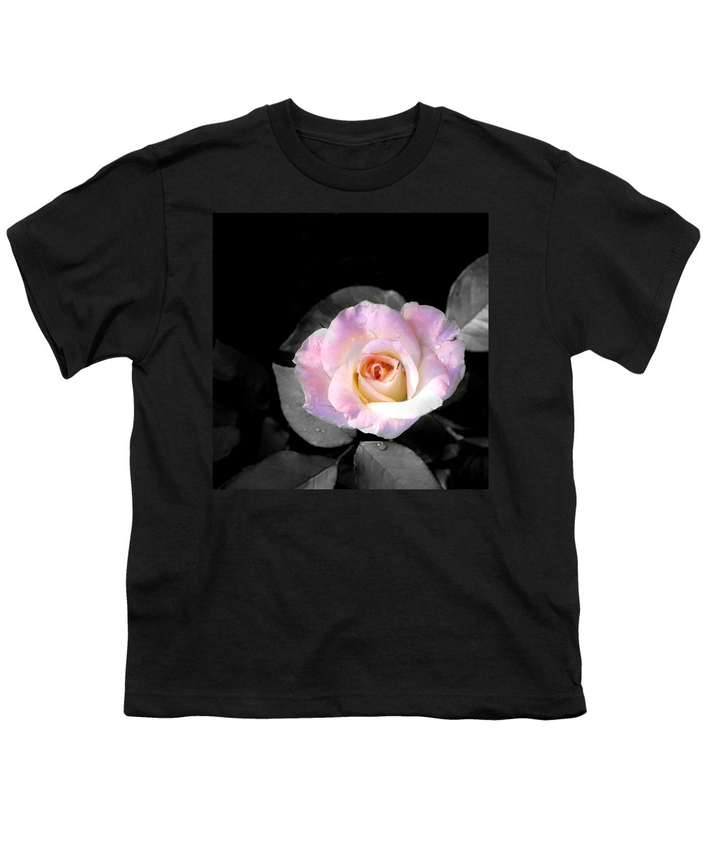 Princess Diana Rose Youth T-Shirt featuring the photograph Rose Emergance by Steve Karol