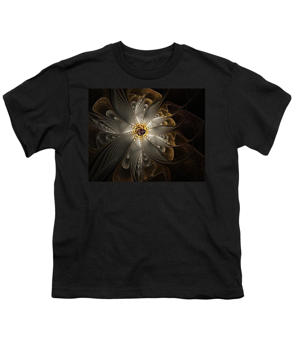 Digital Art Youth T-Shirt featuring the digital art Rosette In Gold And Silver by Amanda Moore