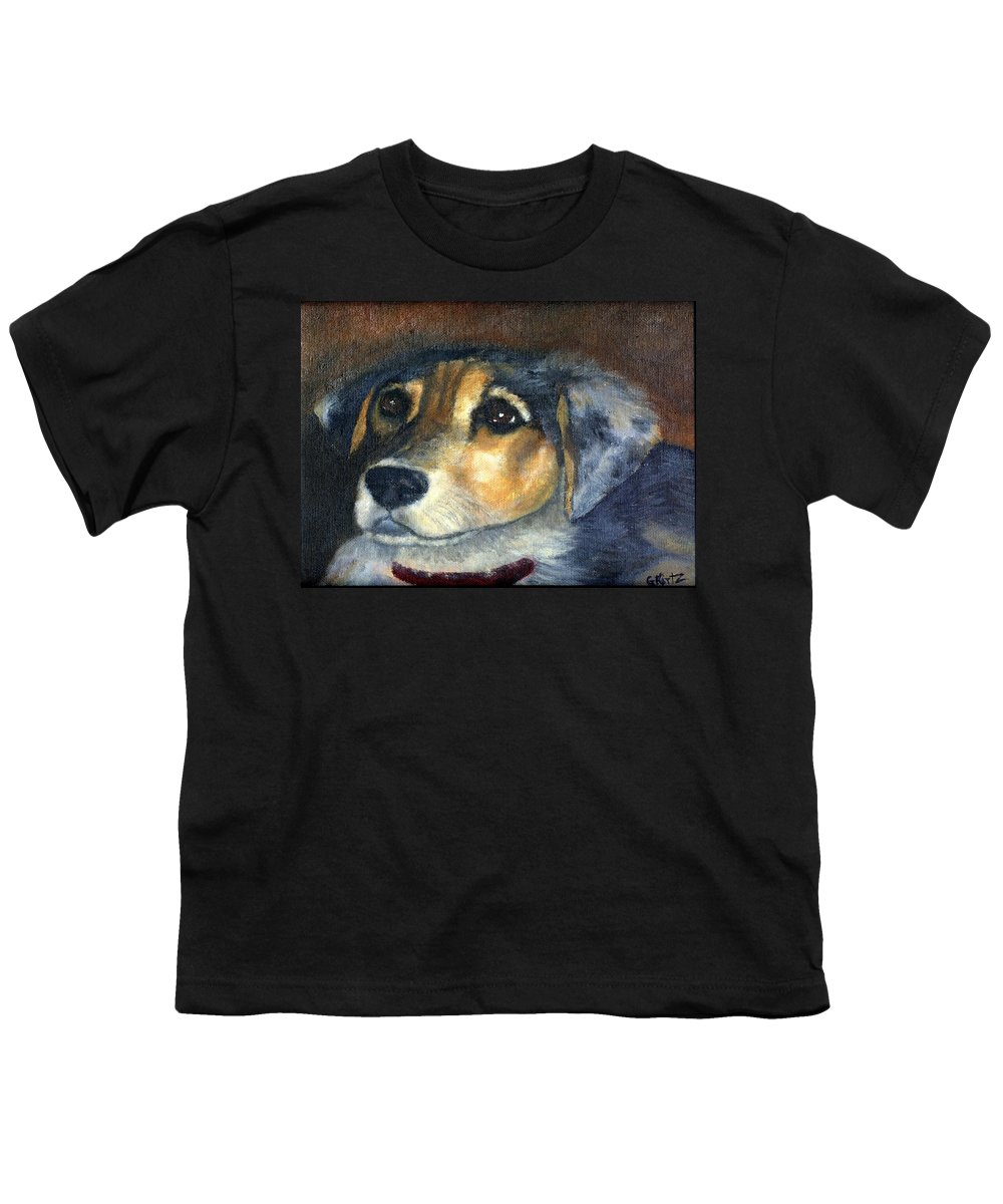 Dog Youth T-Shirt featuring the painting Roxie by Gail Kirtz