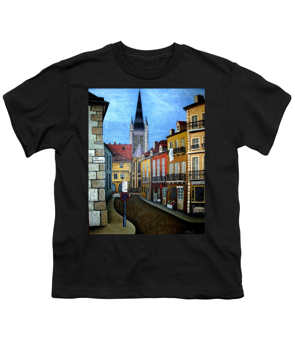 Street Scene Youth T-Shirt featuring the painting Rue Lamonnoye In Dijon France by Nancy Mueller