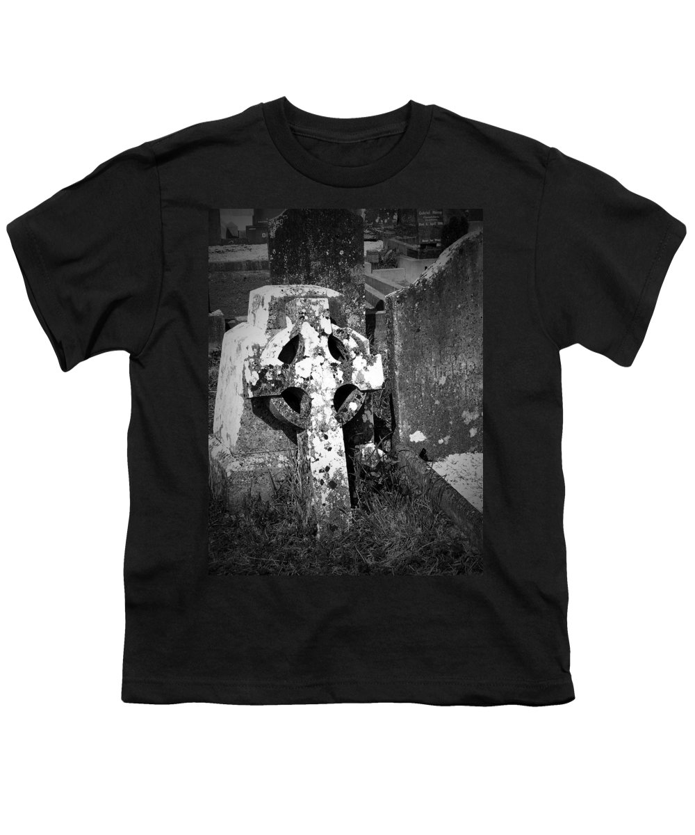 Celtic Youth T-Shirt featuring the photograph Rugged Cross At Fuerty Cemetery Roscommon Ireland by Teresa Mucha