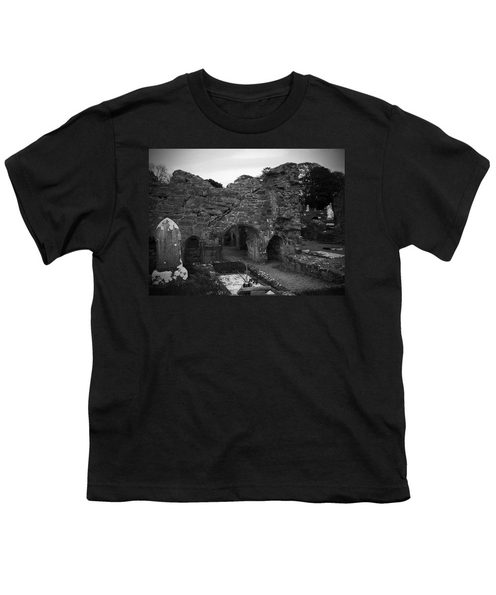 Irish Youth T-Shirt featuring the photograph Ruins At Donegal Abbey Donegal Ireland by Teresa Mucha