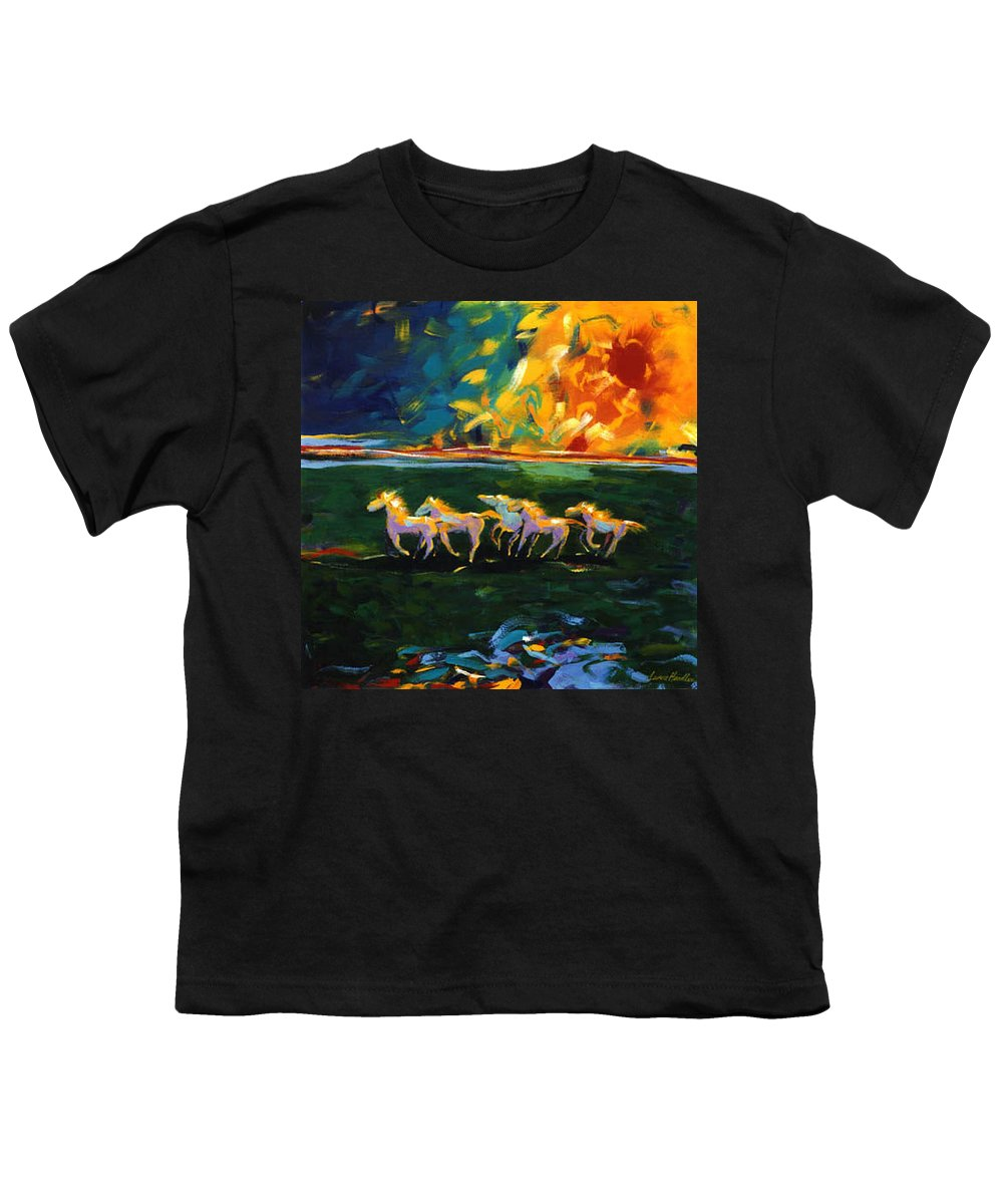 Abstract Horse Youth T-Shirt featuring the painting Run From The Sun by Lance Headlee