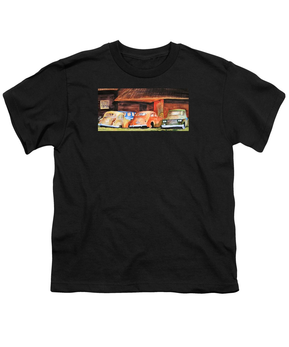 Car Youth T-Shirt featuring the painting Rusting by Karen Stark