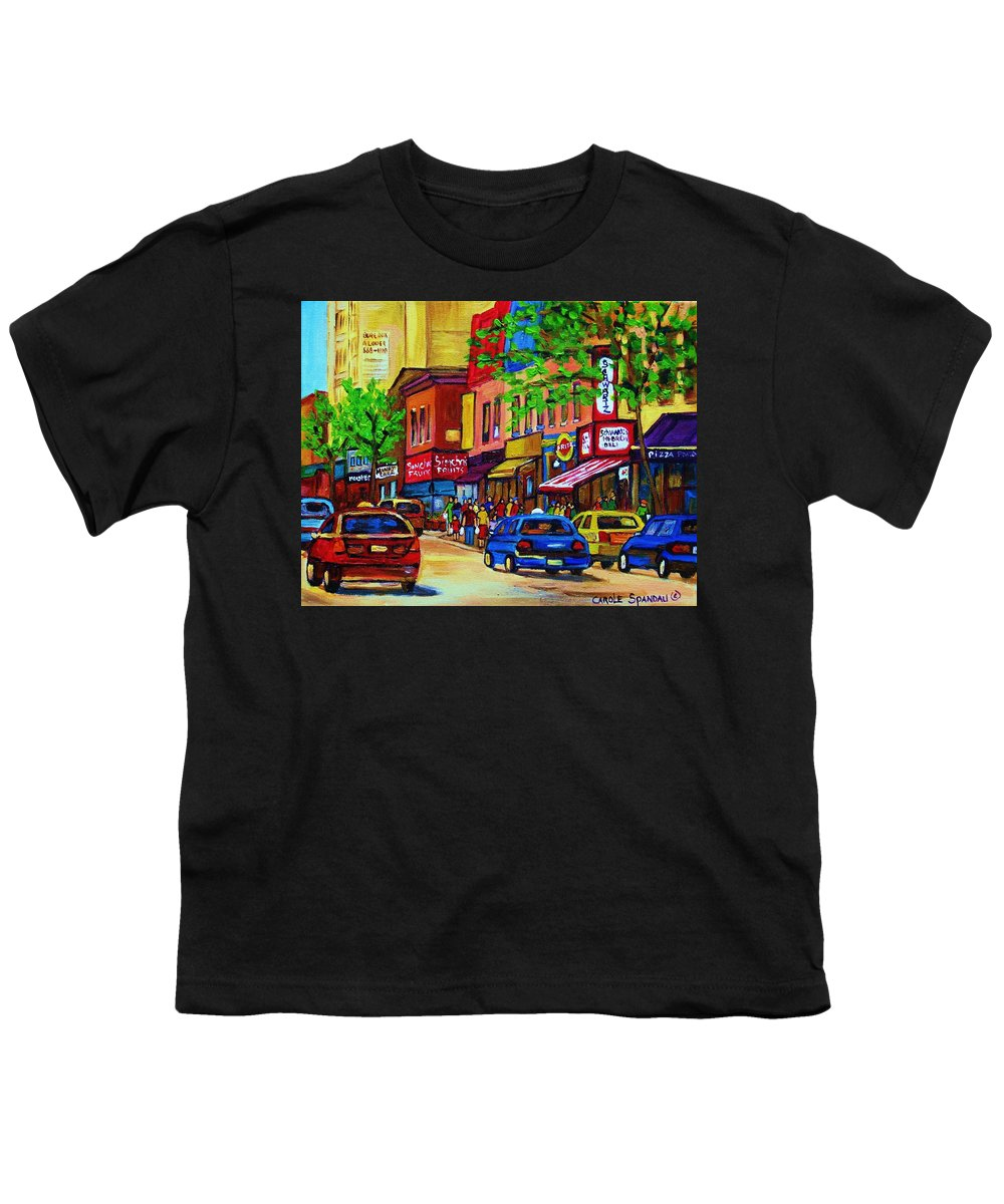 Cityscape Youth T-Shirt featuring the painting Saint Lawrence Street by Carole Spandau