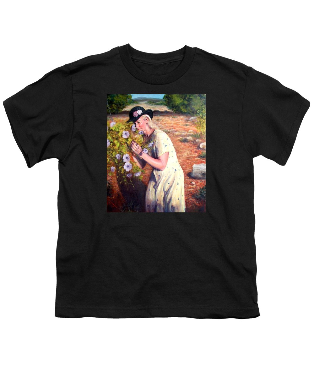 Realism Youth T-Shirt featuring the painting Santa Fe Garden 2  by Donelli DiMaria