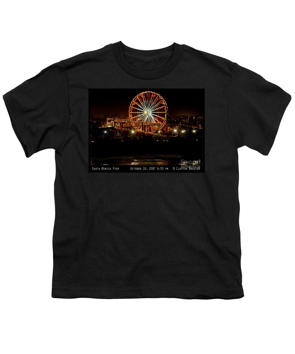 Clay Youth T-Shirt featuring the photograph Santa Monica Pier October 18 2007 by Clayton Bruster