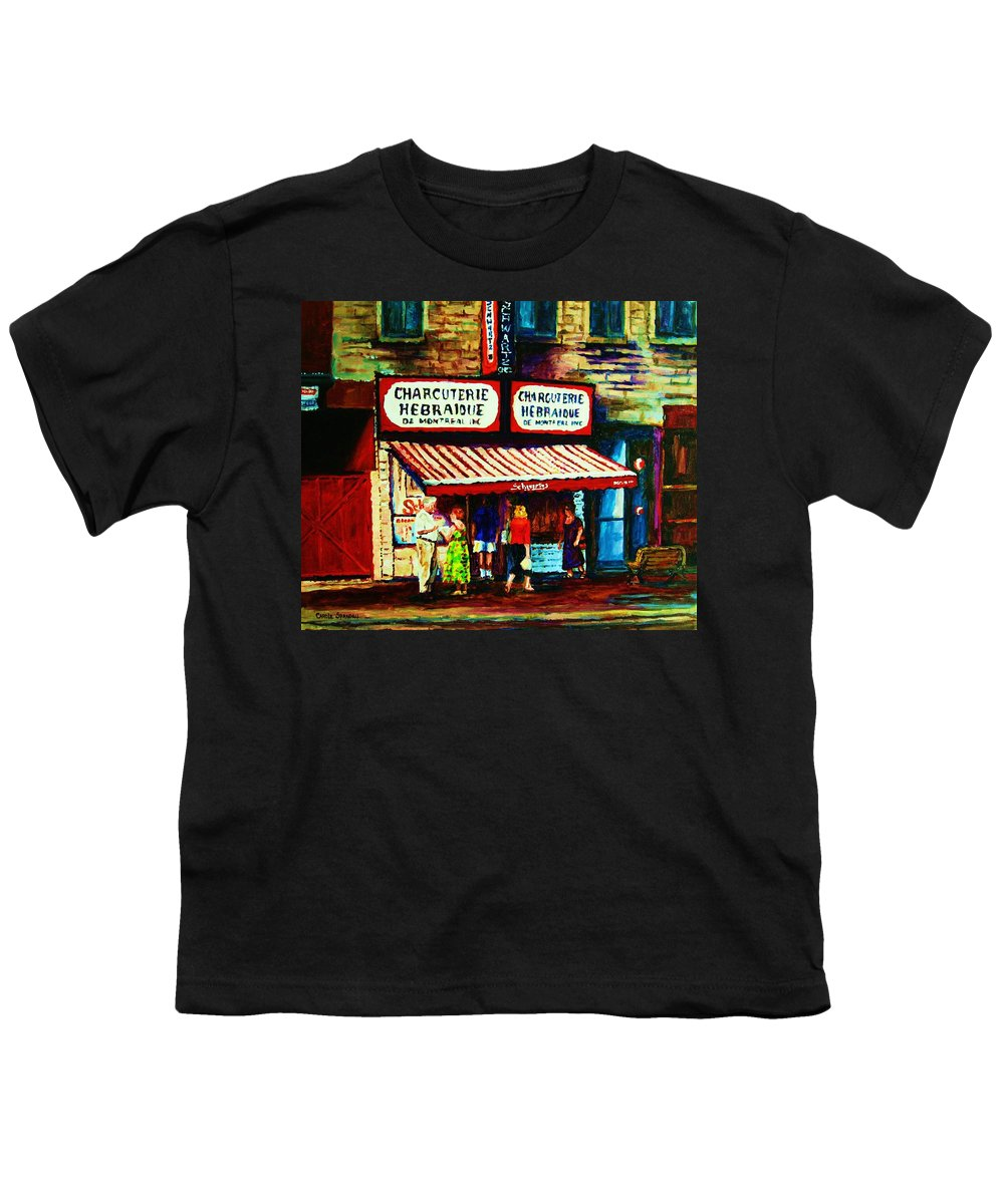 Schwartz Deli Youth T-Shirt featuring the painting Schwartzs Famous Smoked Meat by Carole Spandau