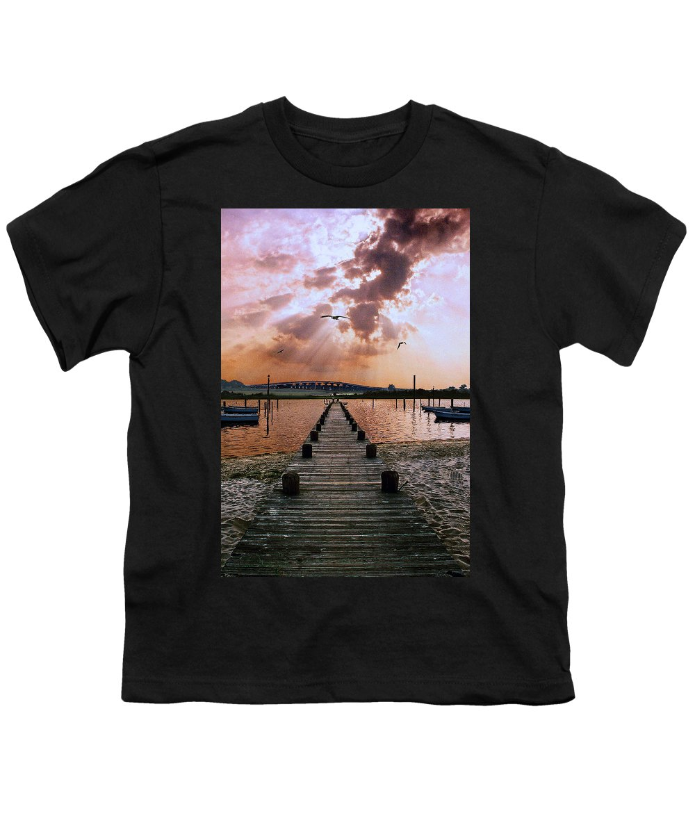 Seascape Youth T-Shirt featuring the photograph Seaside by Steve Karol