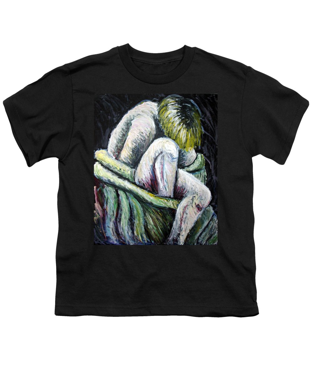 Woman Youth T-Shirt featuring the painting Seated Woman Abstract by Nancy Mueller
