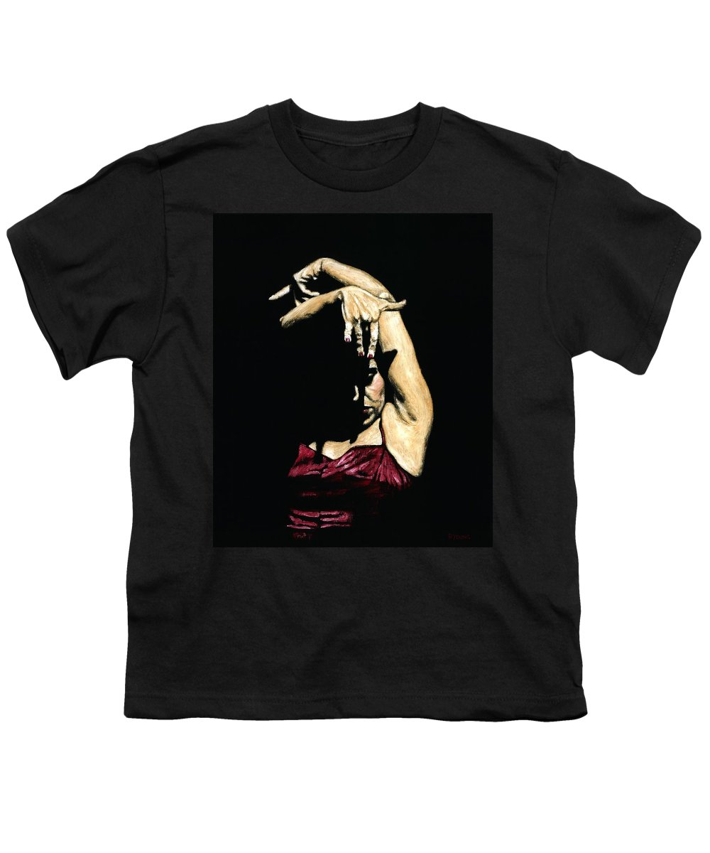 Flamenco Youth T-Shirt featuring the painting Seclusion Del Flamenco by Richard Young