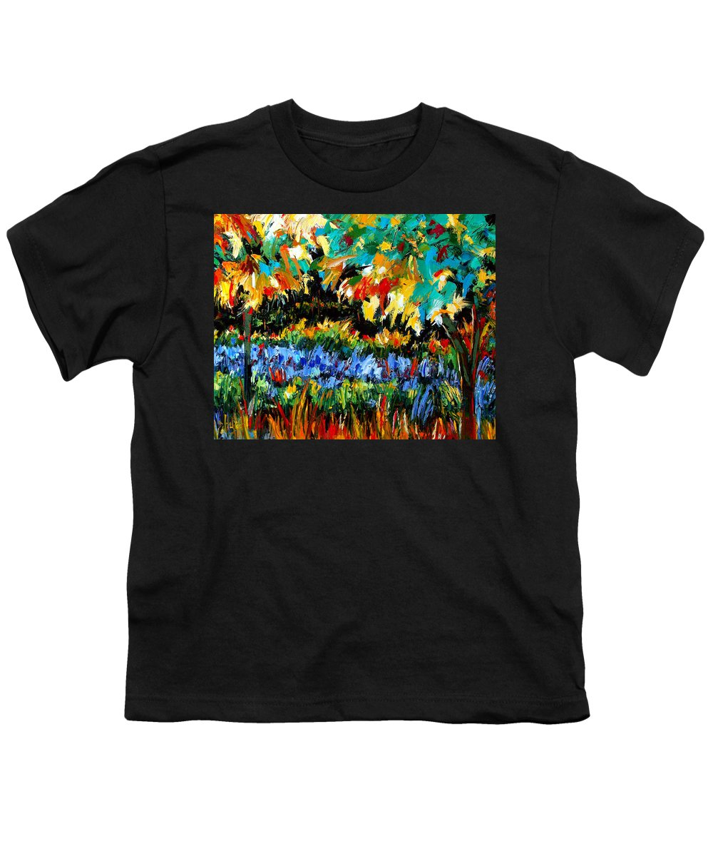 Landscape Youth T-Shirt featuring the painting Secret Garden by Debra Hurd