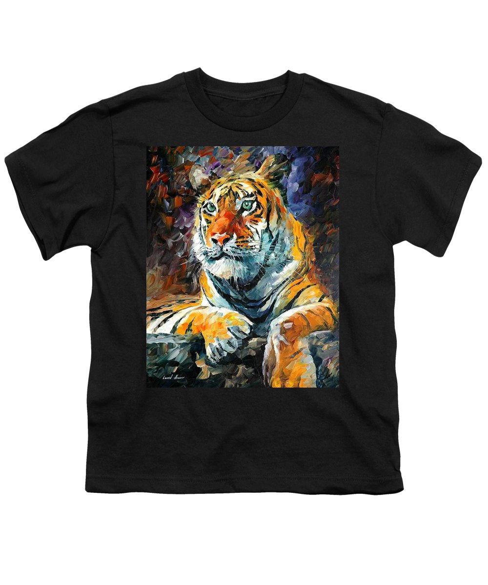 Painting Youth T-Shirt featuring the painting Seibirian Tiger by Leonid Afremov