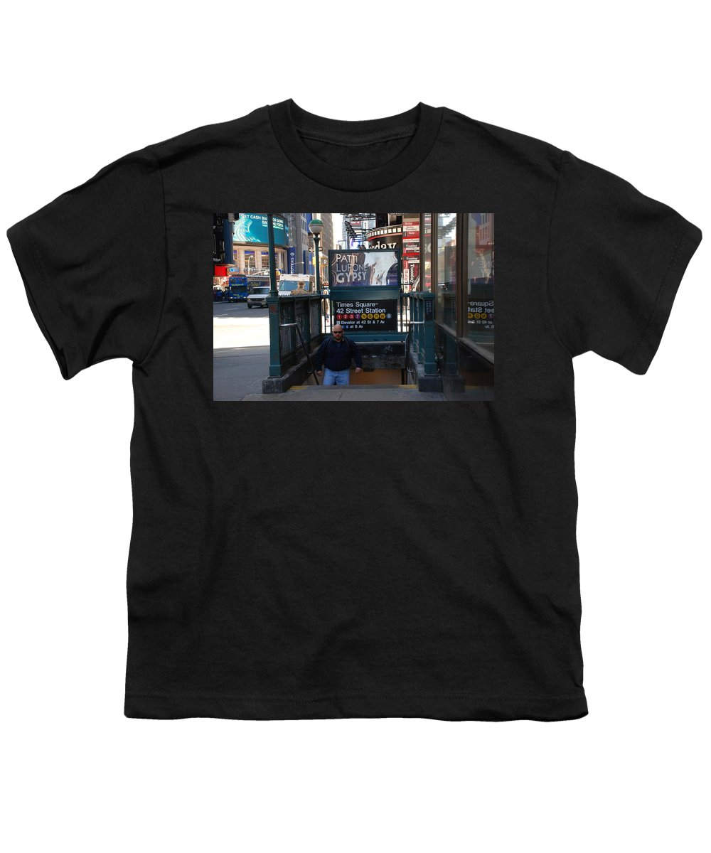 Subay Youth T-Shirt featuring the photograph Self At Subway Stairs by Rob Hans