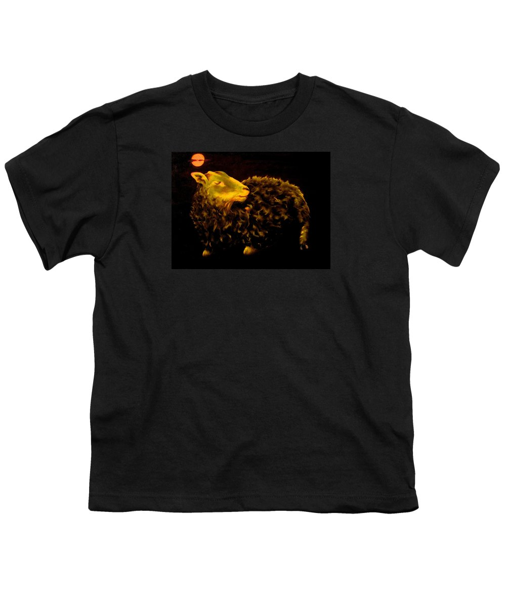 Sheep Youth T-Shirt featuring the painting Sheep At Night by Mark Cawood