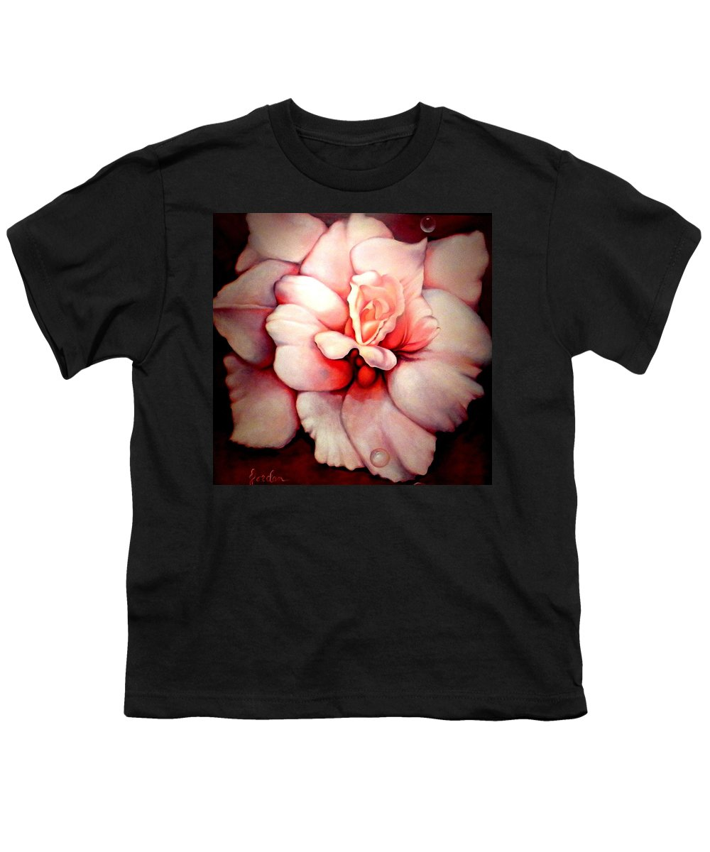 Blooms.large Rose Youth T-Shirt featuring the painting Sheer Bliss by Jordana Sands