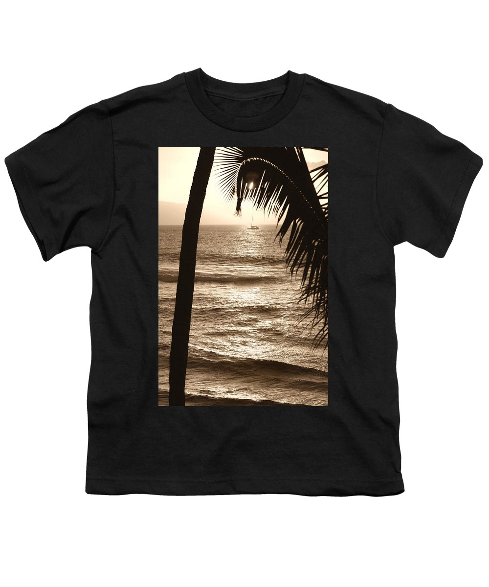 Hawaii Youth T-Shirt featuring the photograph Ship In Sunset by Marilyn Hunt