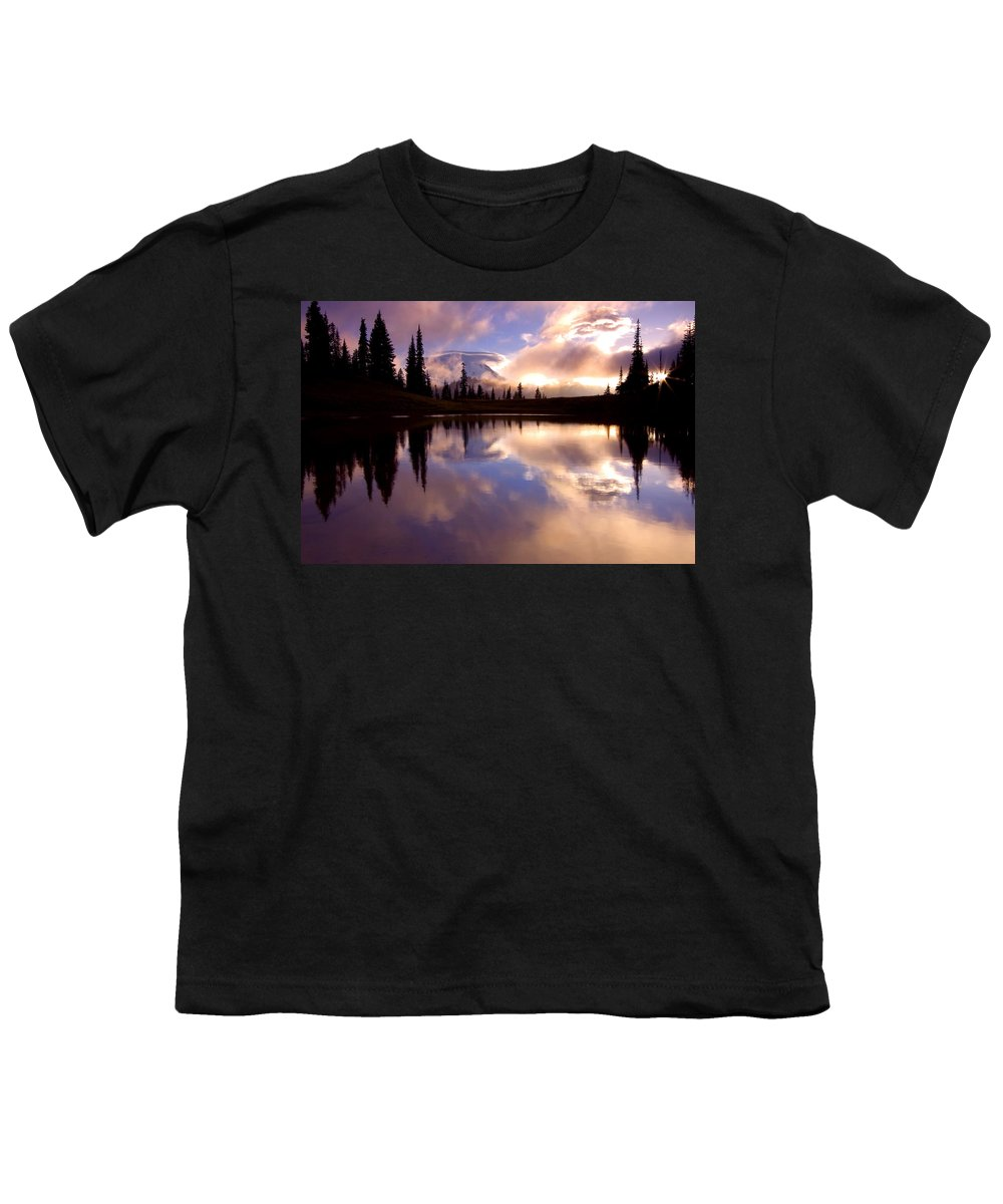 Rainier Youth T-Shirt featuring the photograph Shrouded In Clouds by Mike Dawson