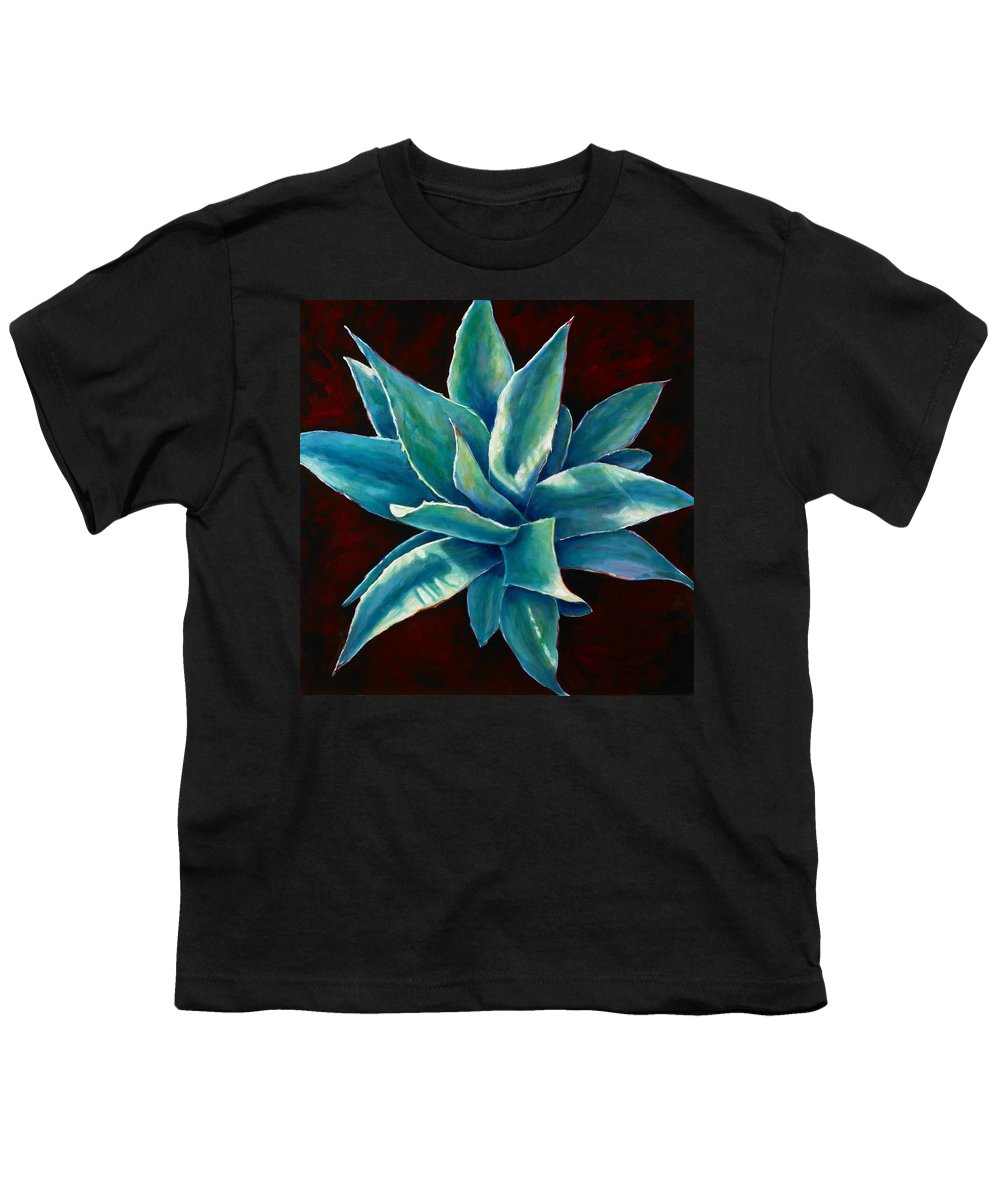 Agave Youth T-Shirt featuring the painting Simply Succulent by Shannon Grissom