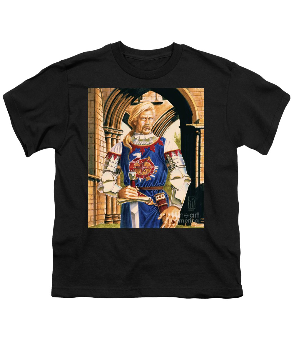 Swords Youth T-Shirt featuring the painting Sir Dinadan by Melissa A Benson