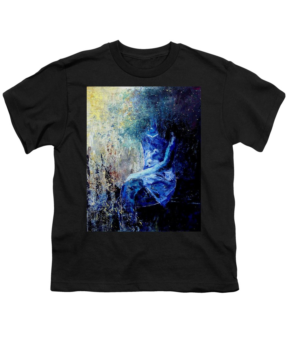Woman Girl Fashion Youth T-Shirt featuring the painting Sitting Young Girl by Pol Ledent