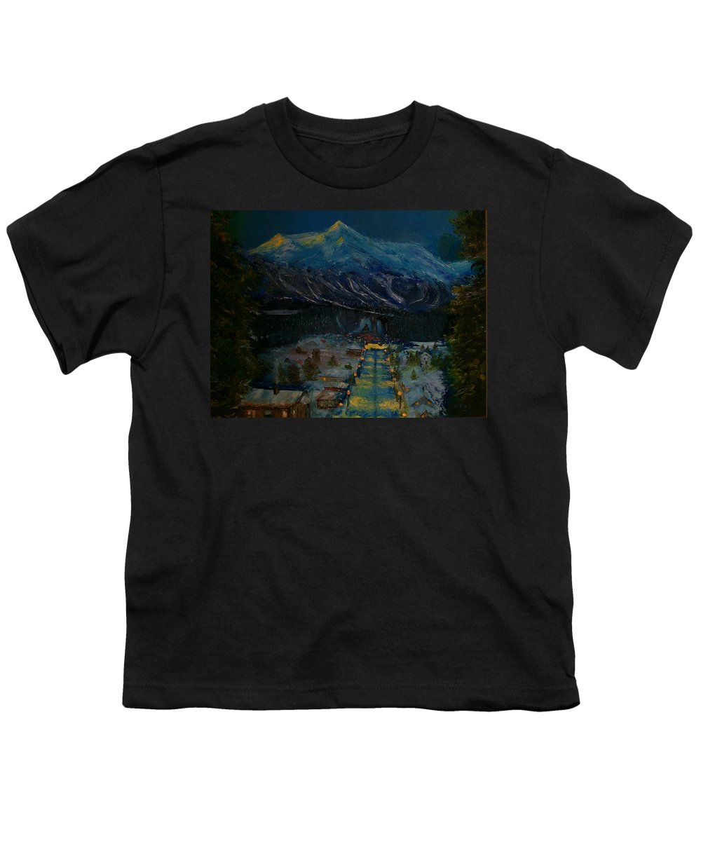 Winter Youth T-Shirt featuring the painting Ski Resort by Stephen King