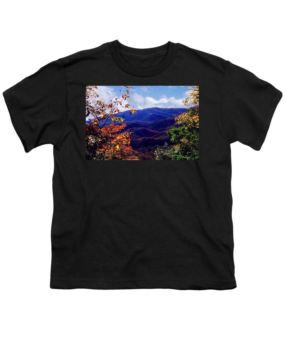 Mountain Youth T-Shirt featuring the photograph Smoky Mountain Autumn View by Nancy Mueller