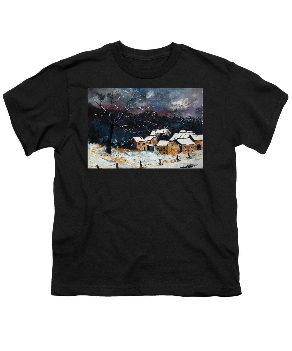 Snow Youth T-Shirt featuring the painting Snow 57 by Pol Ledent
