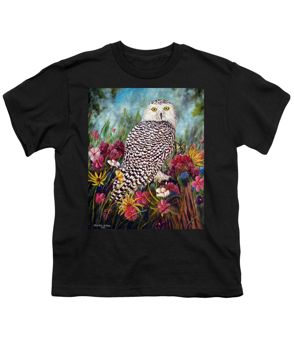 Owl Youth T-Shirt featuring the painting Snowy Owl by David G Paul