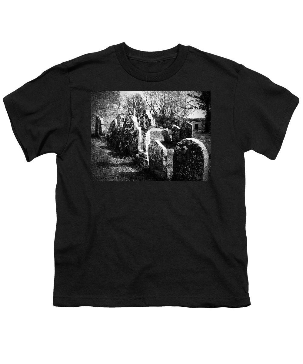 Ireland Youth T-Shirt featuring the photograph Solitary Cross At Fuerty Cemetery Roscommon Irenand by Teresa Mucha