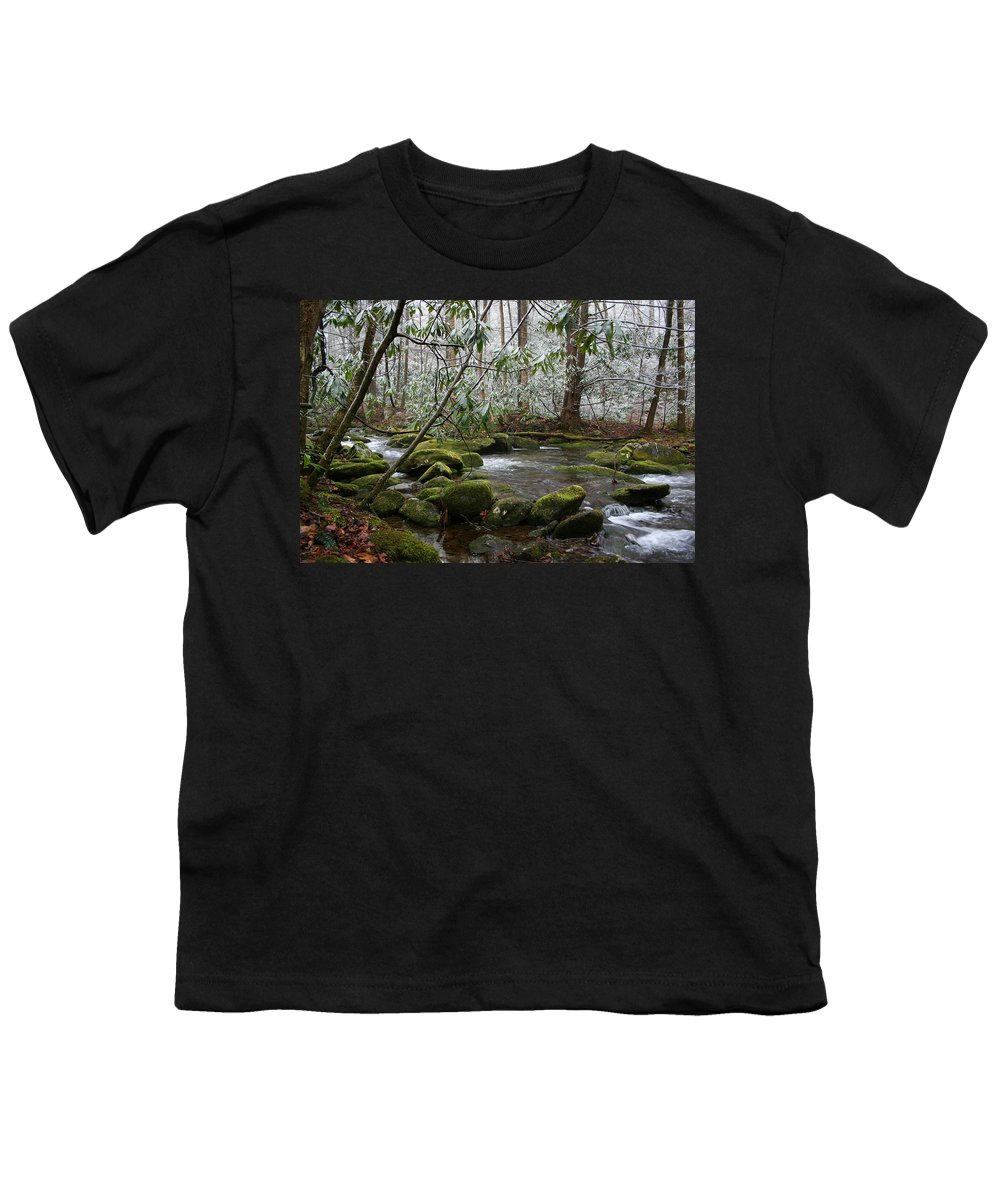 River Stream Creek Water Nature Rock Rocks Tree Trees Winter Snow Peaceful White Green Flowing Flow Youth T-Shirt featuring the photograph Soothing by Andrei Shliakhau