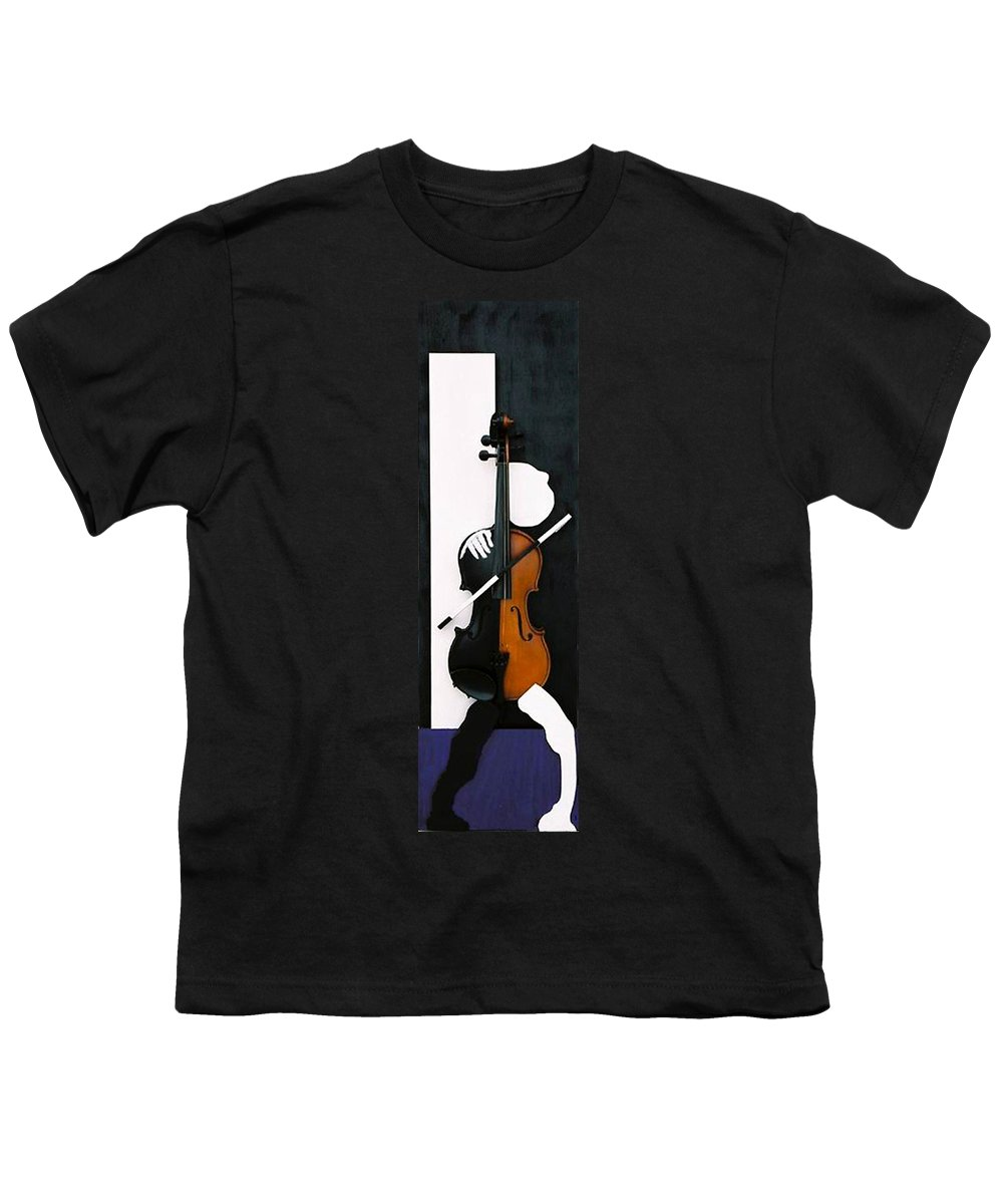 Violin Youth T-Shirt featuring the sculpture Soul Of Music by Steve Karol