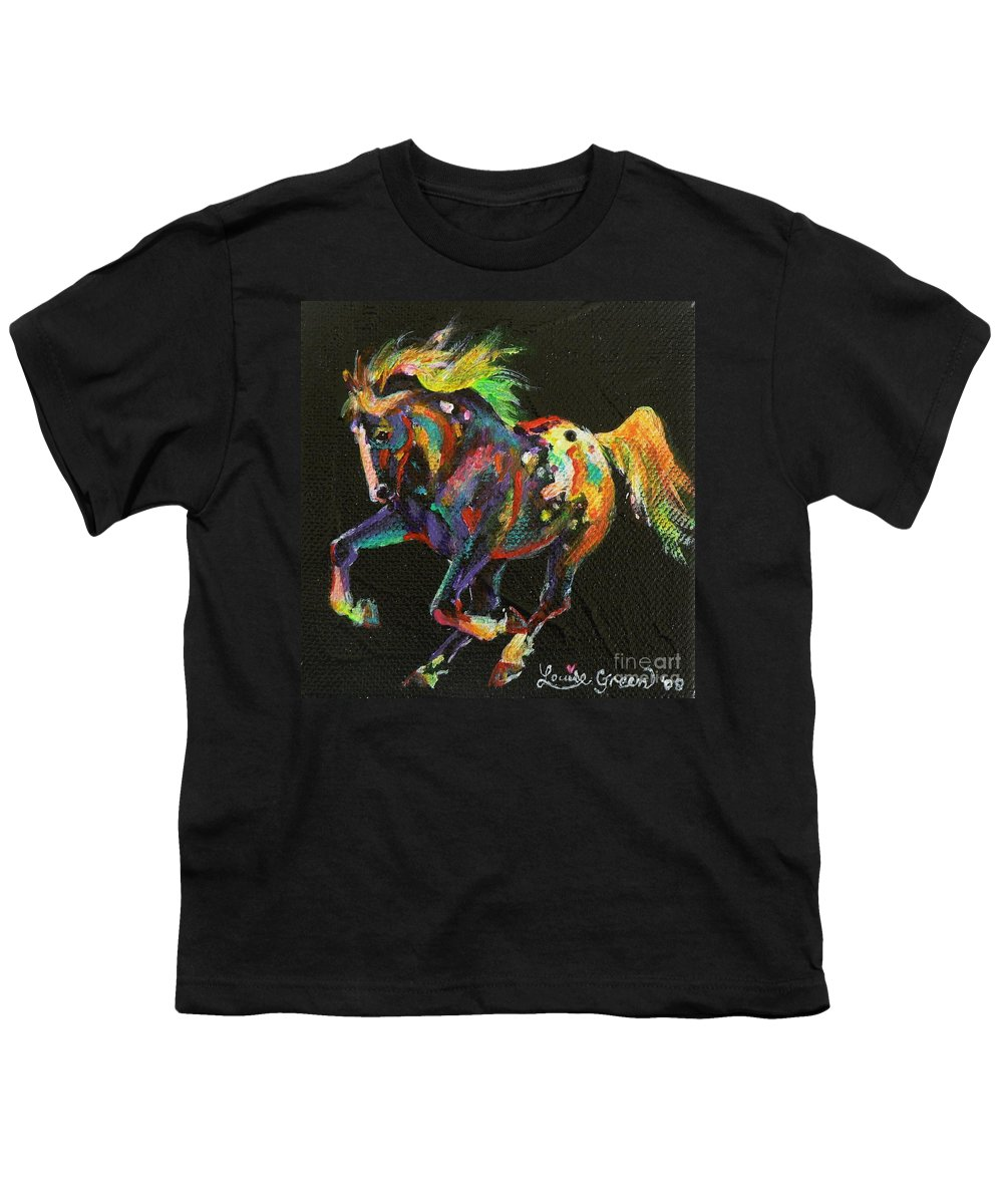 Starburst Pony Youth T-Shirt featuring the painting Starburst Pony by Louise Green