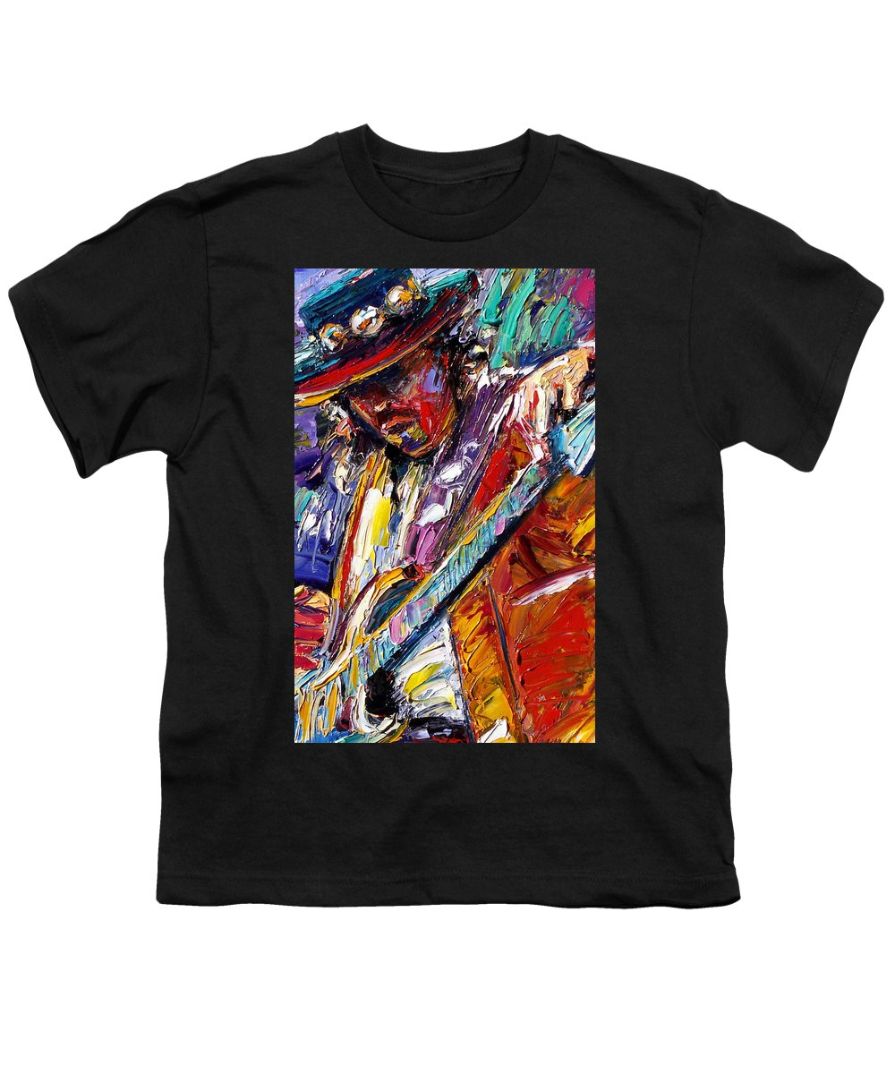 Rock Youth T-Shirt featuring the painting Stevie Ray Vaughan Number One by Debra Hurd