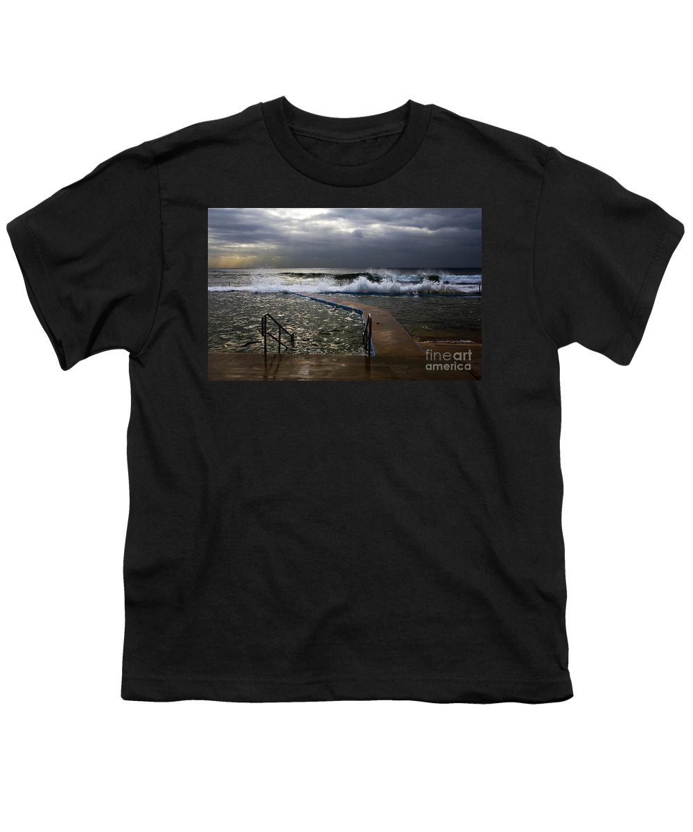 Storm Clouds Collaroy Beach Australia Youth T-Shirt featuring the photograph Stormy Morning At Collaroy by Avalon Fine Art Photography