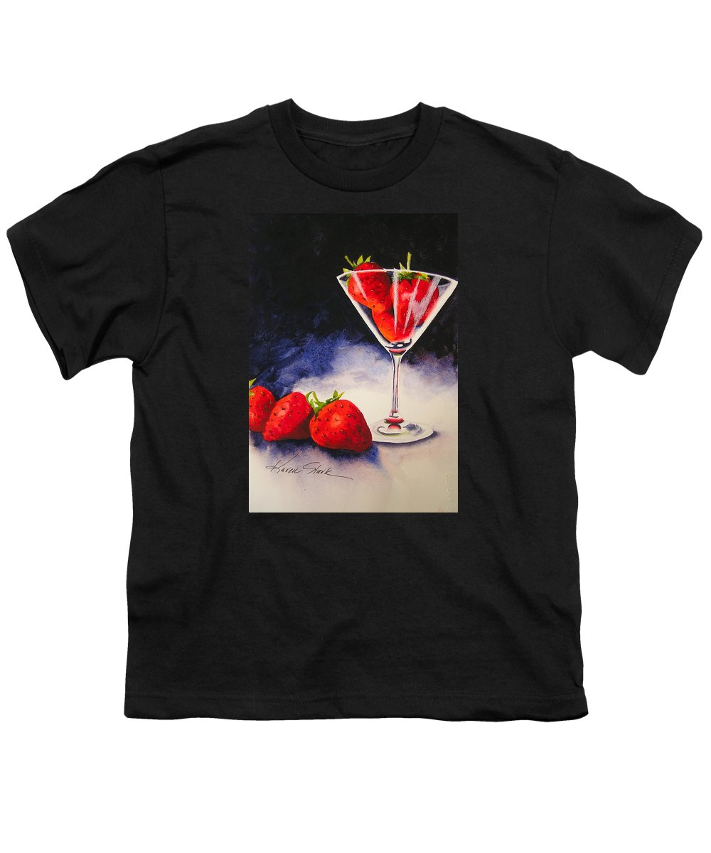 Strawberry Youth T-Shirt featuring the painting Strawberrytini by Karen Stark