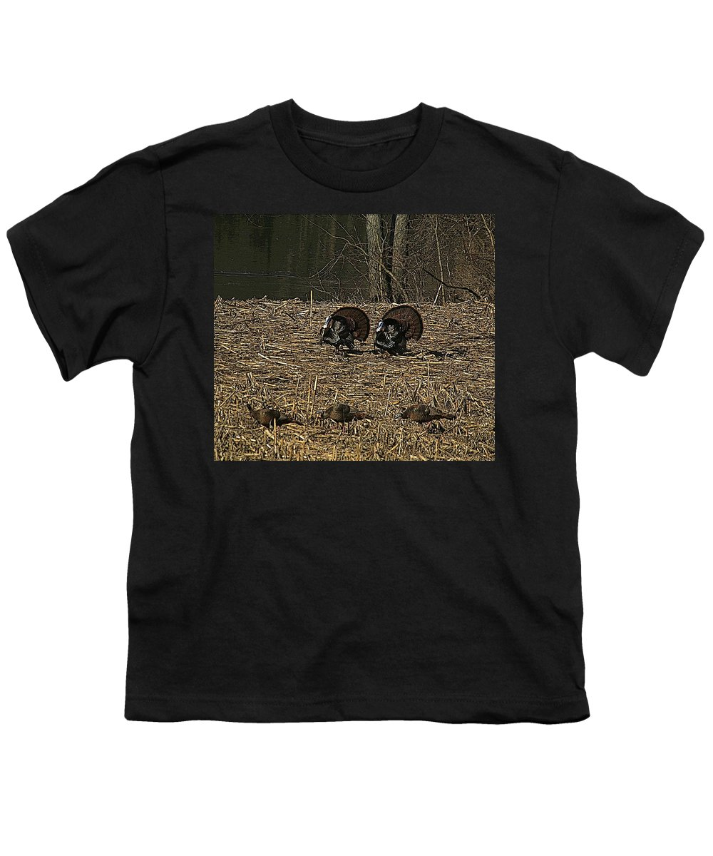 Turkey Youth T-Shirt featuring the photograph Strutin For The Ladies by Robert Pearson