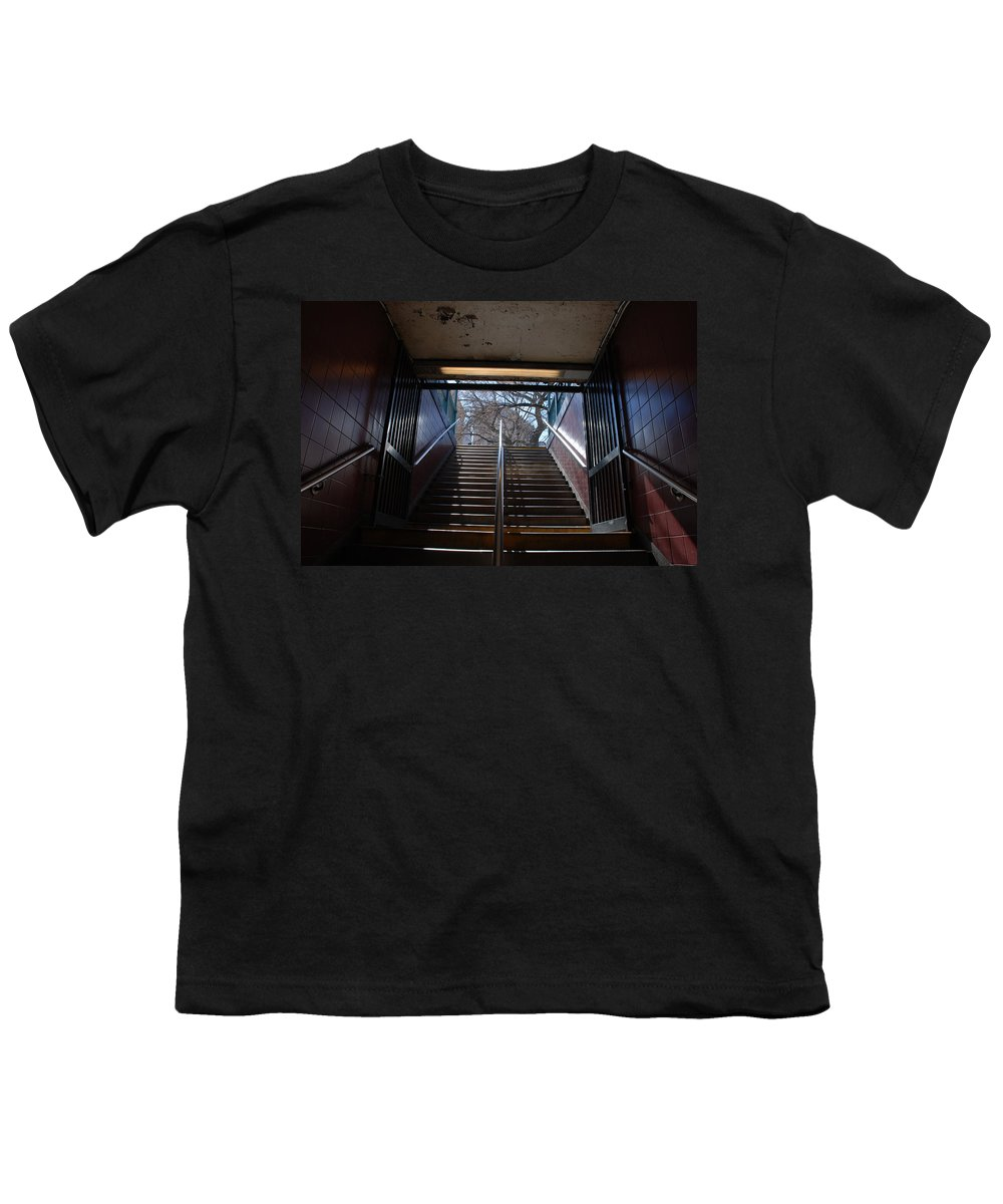 Pop Art Youth T-Shirt featuring the photograph Subway Stairs To Freedom by Rob Hans