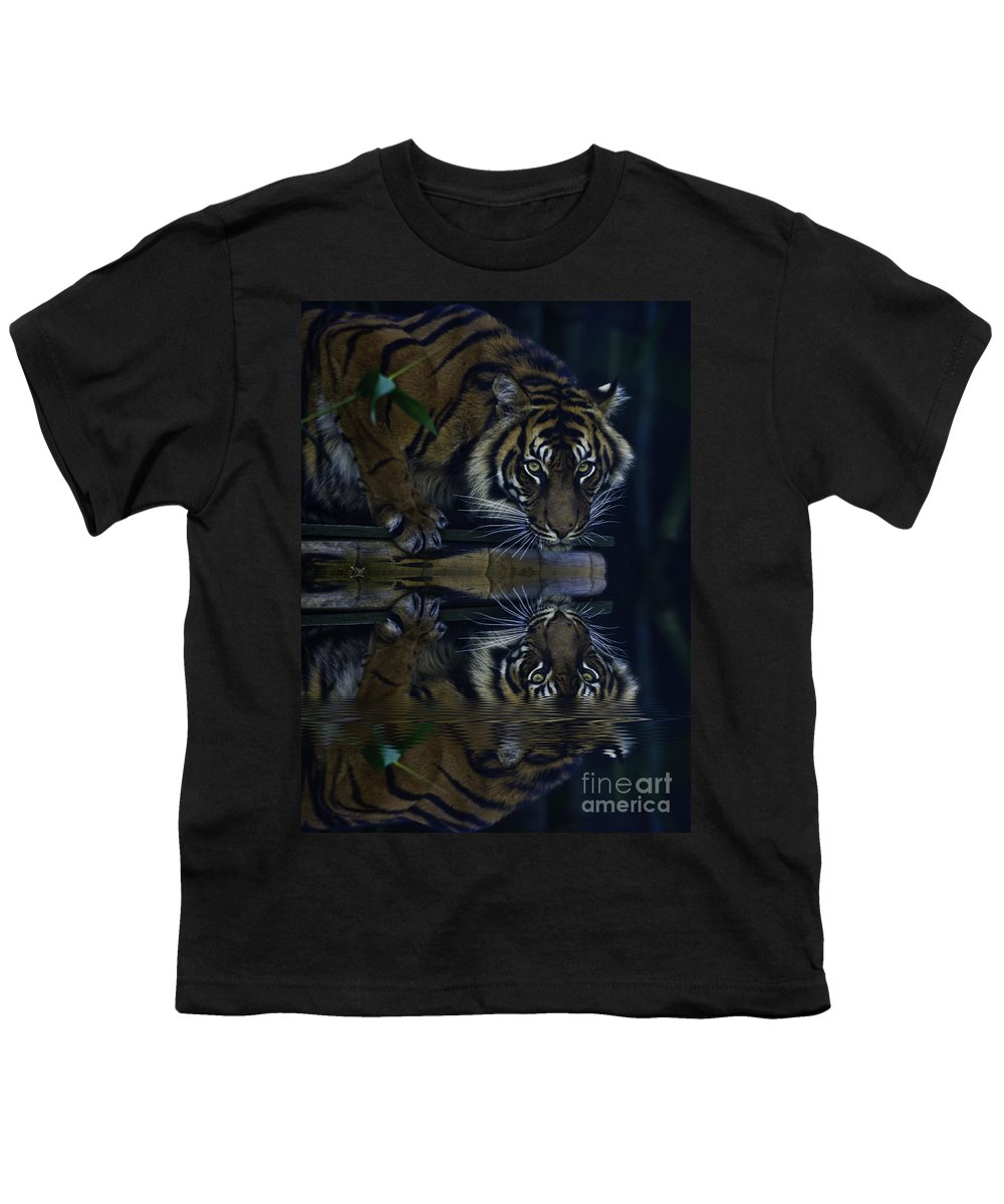 Sumatran Tiger Youth T-Shirt featuring the photograph Sumatran Tiger Reflection by Sheila Smart Fine Art Photography