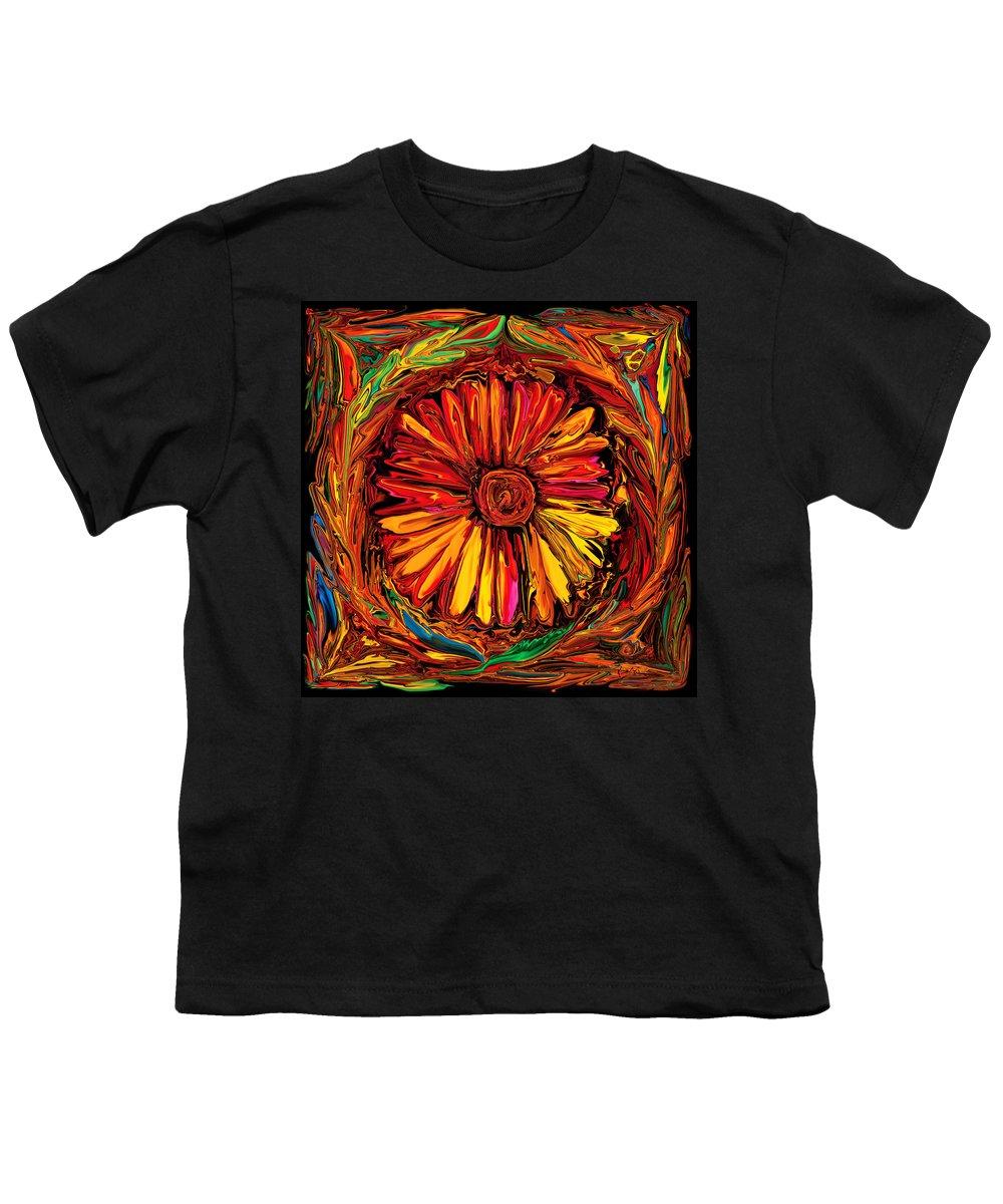 Art Youth T-Shirt featuring the digital art Sunflower Emblem by Rabi Khan