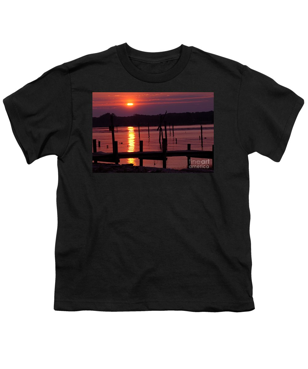 Clay Youth T-Shirt featuring the photograph Sunset At Colonial Beach by Clayton Bruster
