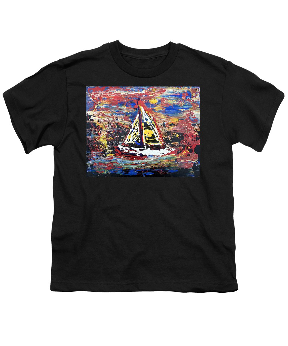Sailboat Youth T-Shirt featuring the painting Sunset On The Lake by J R Seymour
