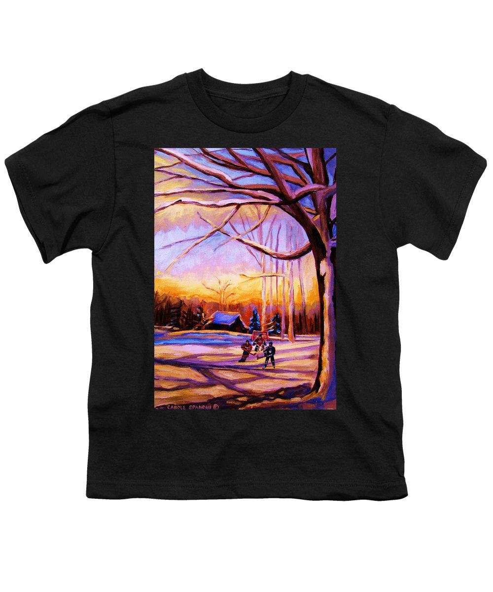 Sunset Over Hockey Youth T-Shirt featuring the painting Sunset Over The Hockey Game by Carole Spandau
