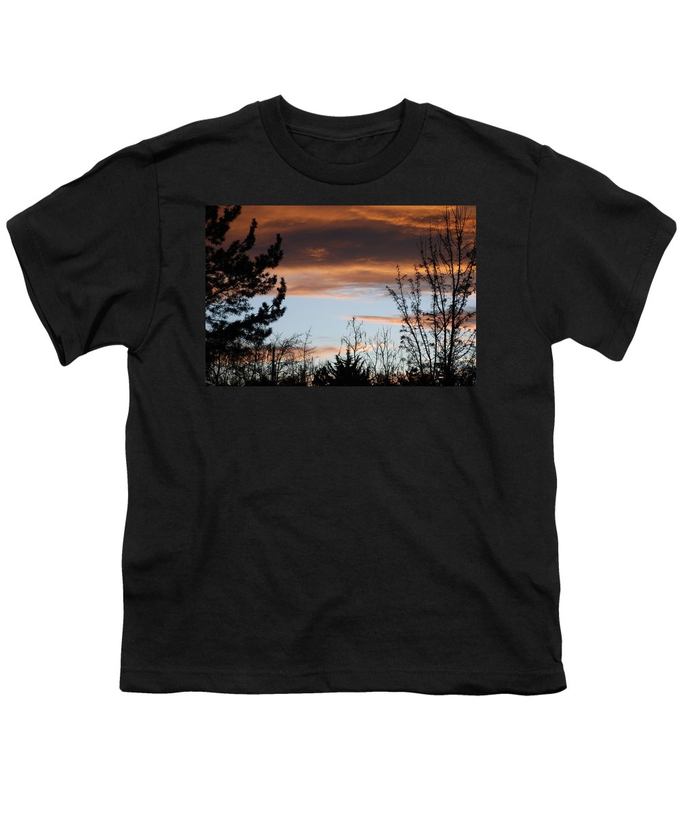 Sunset Youth T-Shirt featuring the photograph Sunset Thru The Trees by Rob Hans