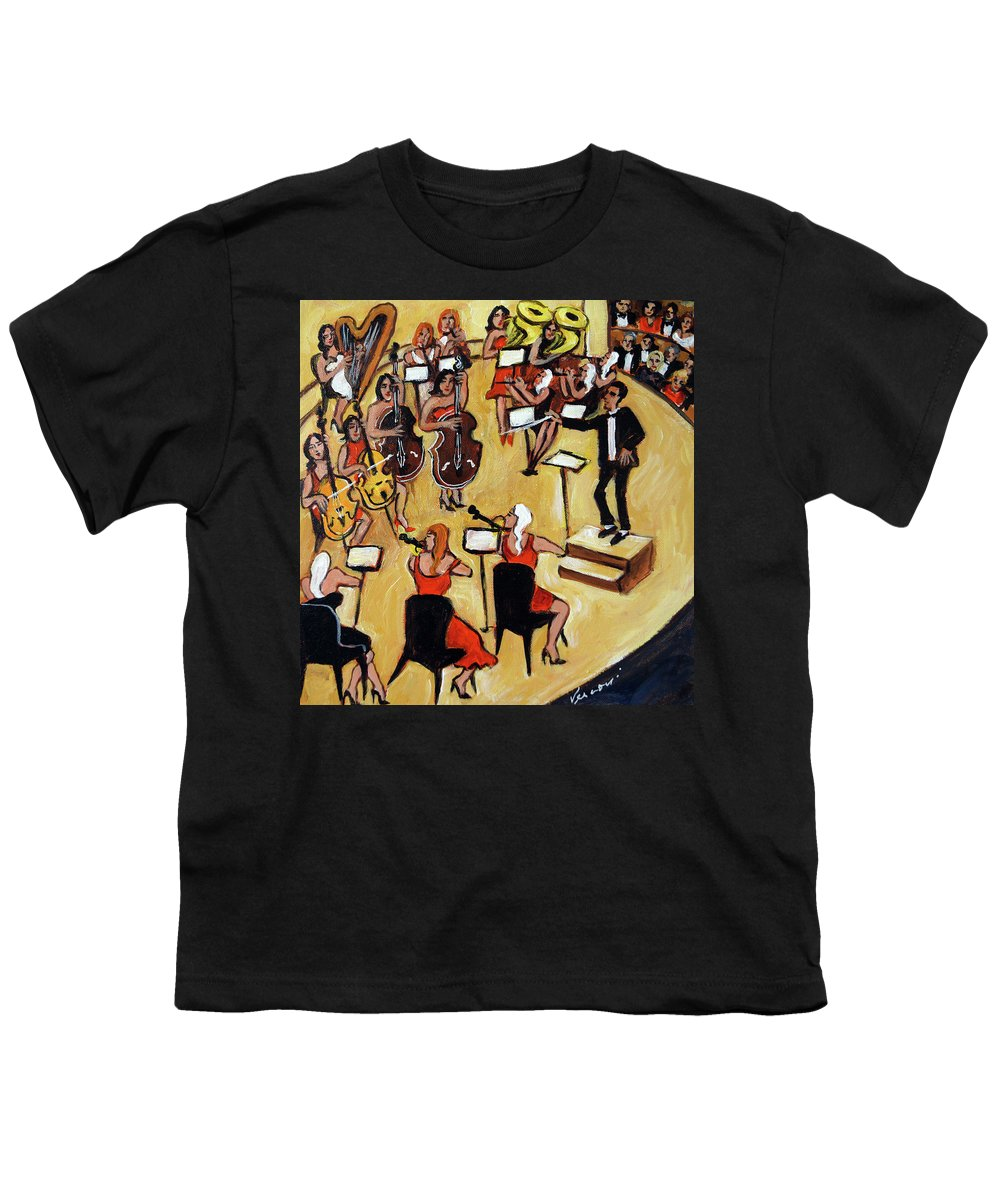 Carnegie Hall Orchestra Youth T-Shirt featuring the painting Symphony by Valerie Vescovi