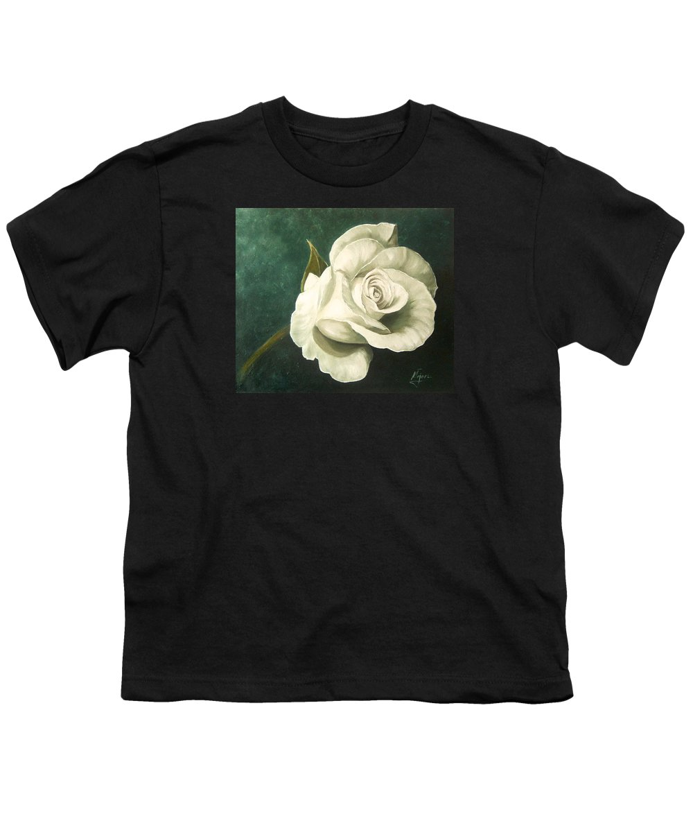 Rose Flower Still Life White Youth T-Shirt featuring the painting Tea Rose by Natalia Tejera