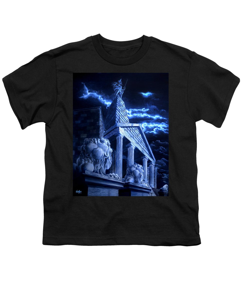 Hercules Youth T-Shirt featuring the drawing Temple Of Hercules In Kassel by Curtiss Shaffer