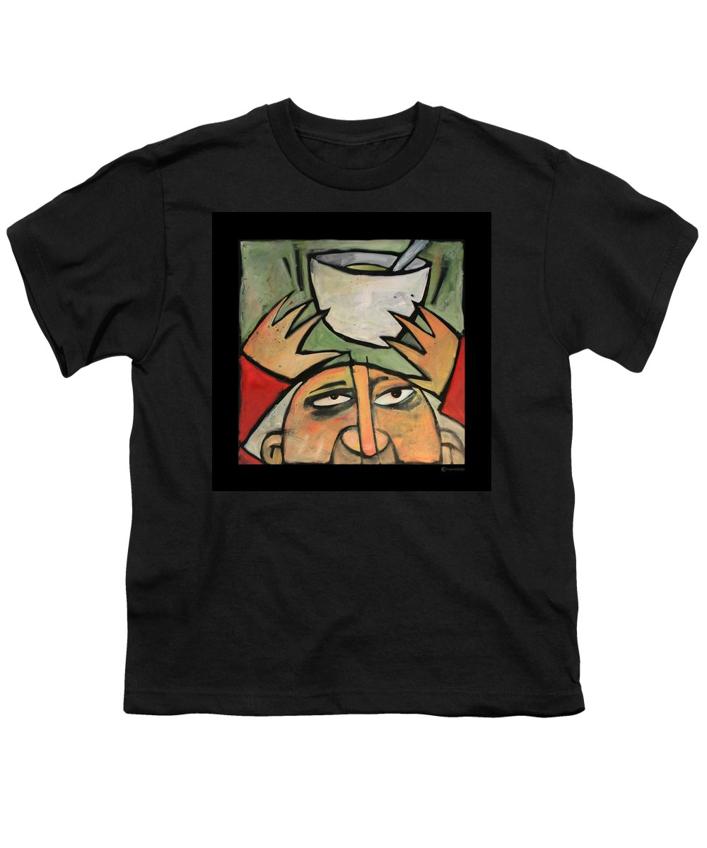 Humor Youth T-Shirt featuring the painting The Amazing Brad Soup Juggler by Tim Nyberg