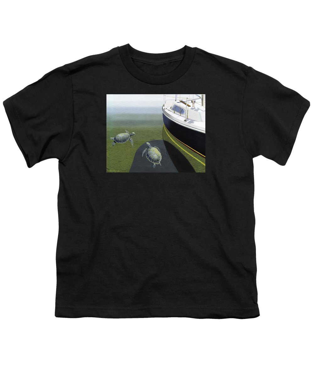 Sail Boat Youth T-Shirt featuring the painting The Curiosity Of Sea Turtles by Gary Giacomelli