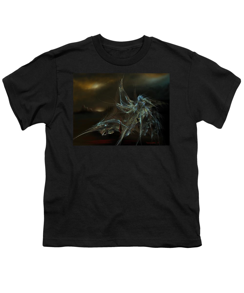 Dragon Warrior Medieval Fantasy Darkness Youth T-Shirt featuring the digital art The Dragon Warrior by Veronica Jackson